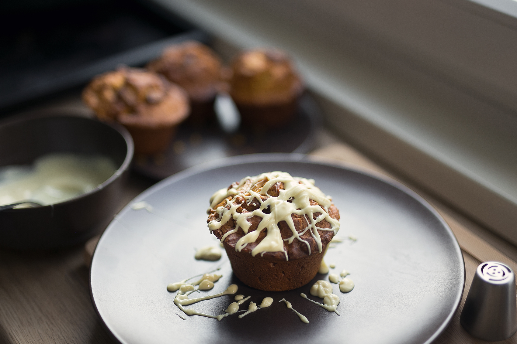 Kürbis Muffins mit weißer Schokolade und Walnüssen