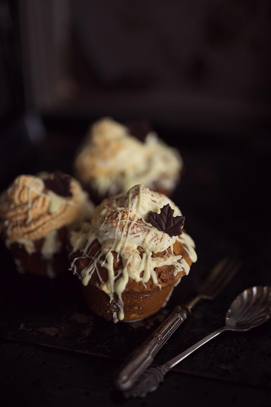 Rezept Kürbis Muffin mit doppelt weißer Schokolade