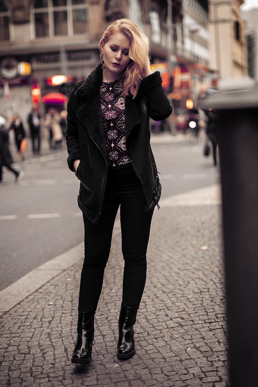 Schwarze Winterjacke Outfit für Damen