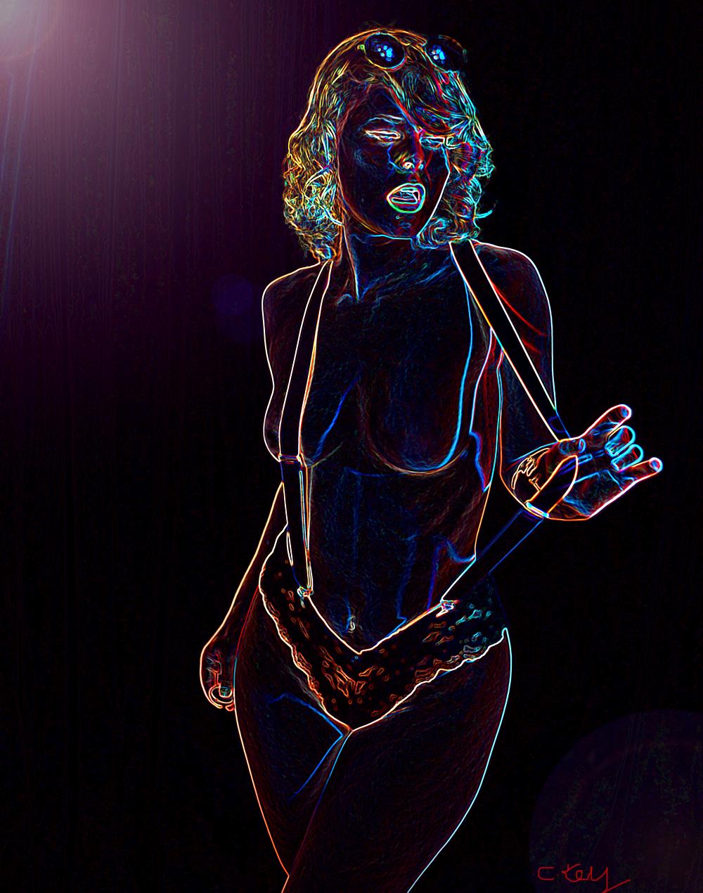 Selbstportrait Christina Key Foto gezeichnet