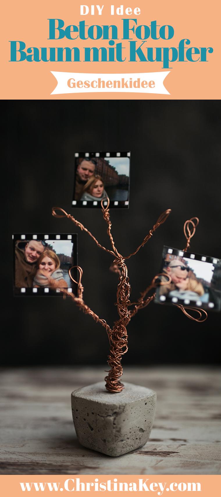 Beton Foto Baum mit Kupfer