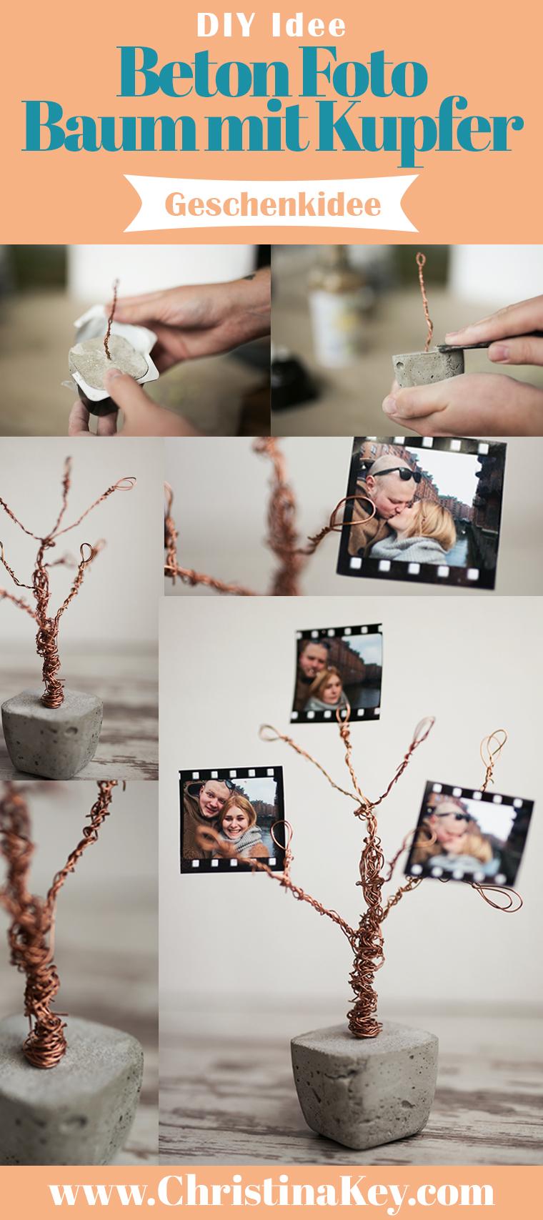 Beton Kupfer Foto Baum DIY Idee