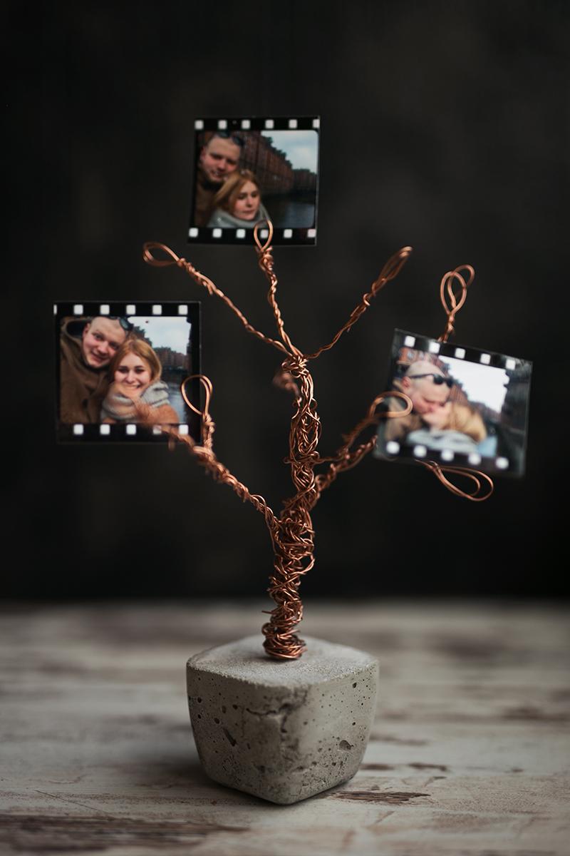 Beton Kupfer Foto Baum DIY Idee Anleitung