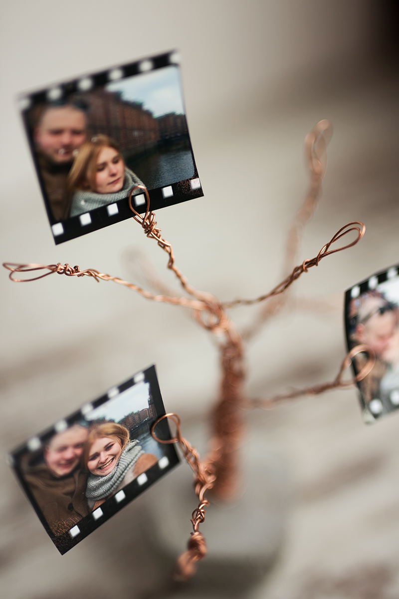 Beton Kupfer Foto Baum DIY Idee mit Couple Bilder