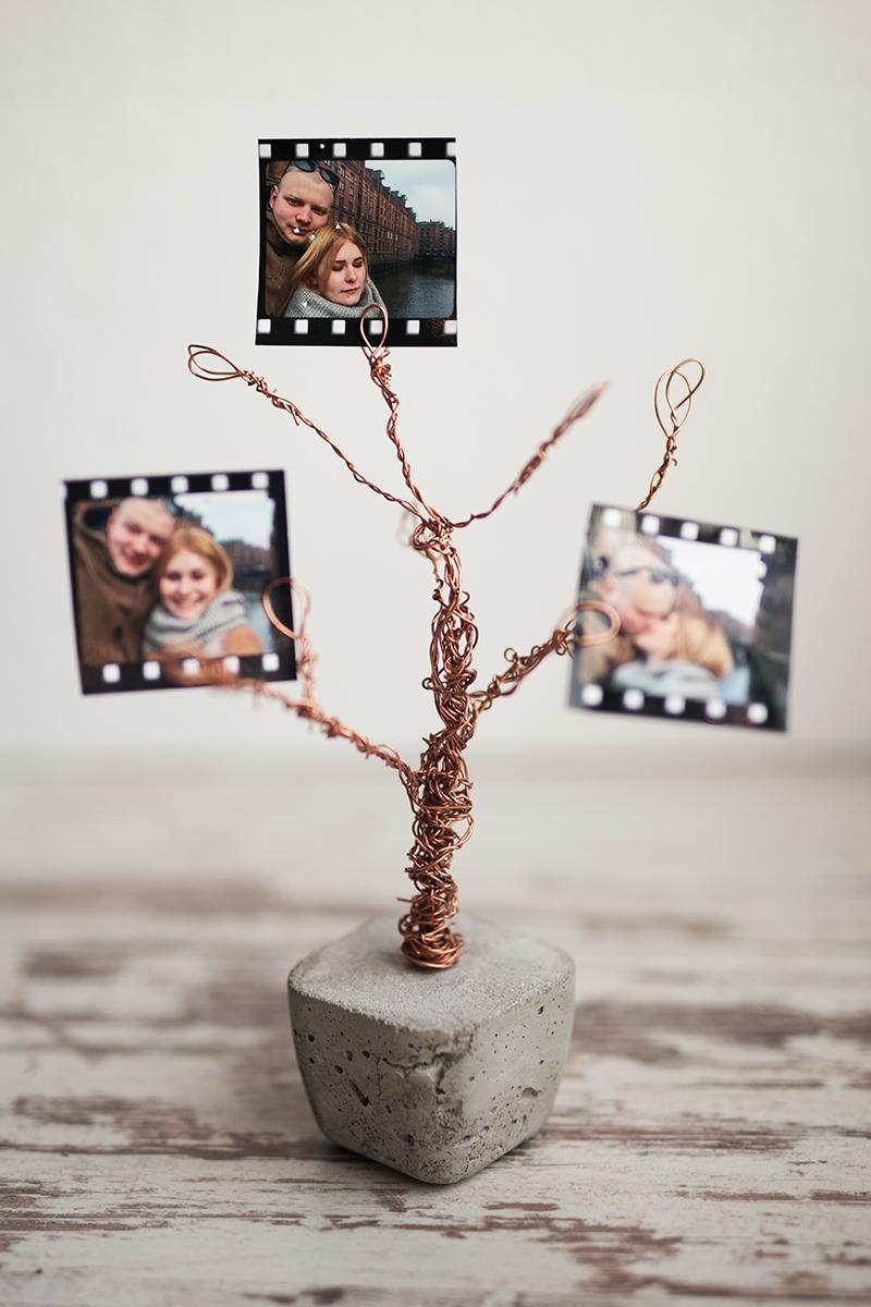 Beton Kupfer Foto Baum DIY Idee zum nachmachen