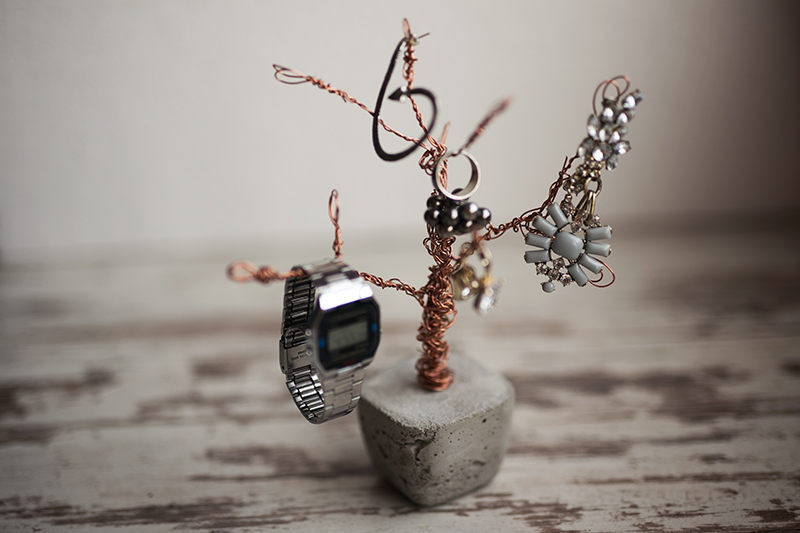 Beton Kupfer Foto Baum mit Schmuck dekoriert