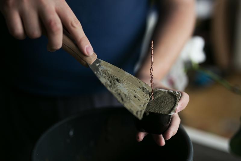Beton glatt streichen für Beton Kupfer Foto Baum DIY Idee
