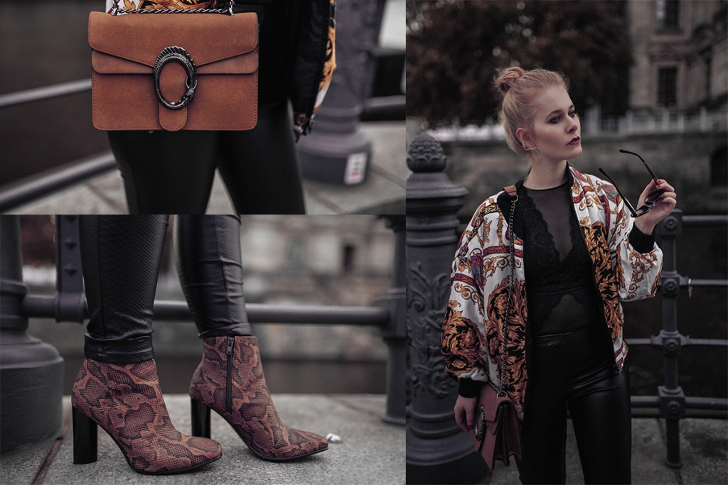 Lederhose und Bomberjacke Outfit für Damen Christina Key