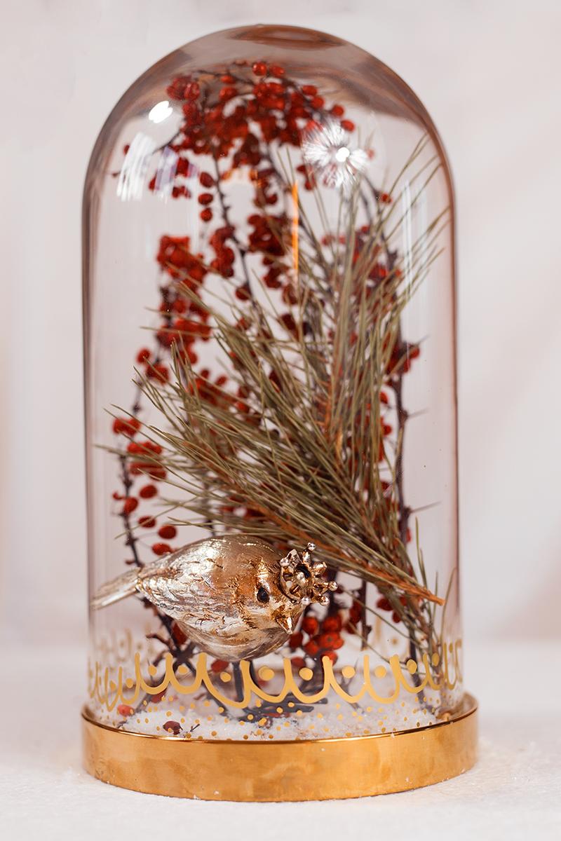 Edle Glasglocke - Dekoration für Weihnachten DIY