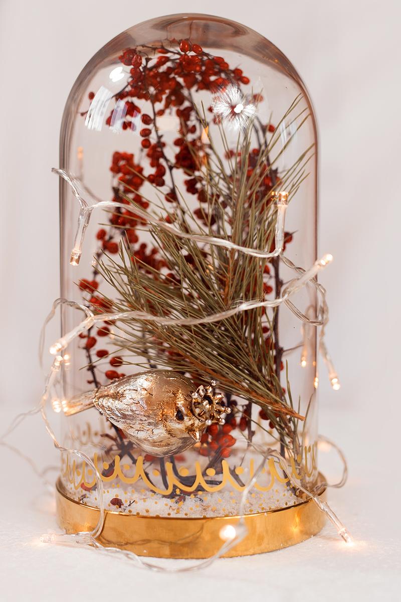 Edle Glasglocke - Dekoration für Weihnachten mit Lichterkette