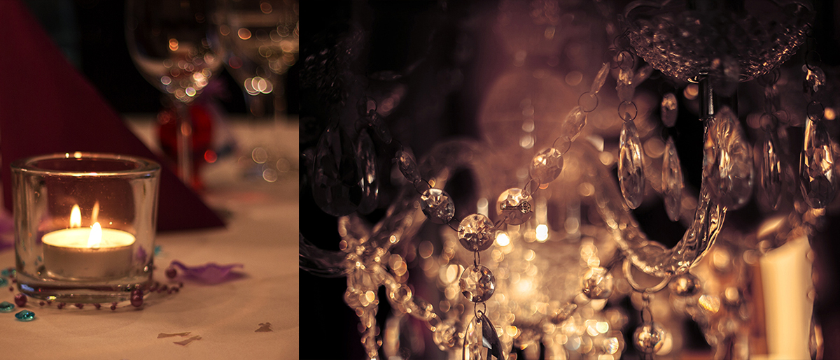 Gläser als Bokeh weihnachtliche Fotos