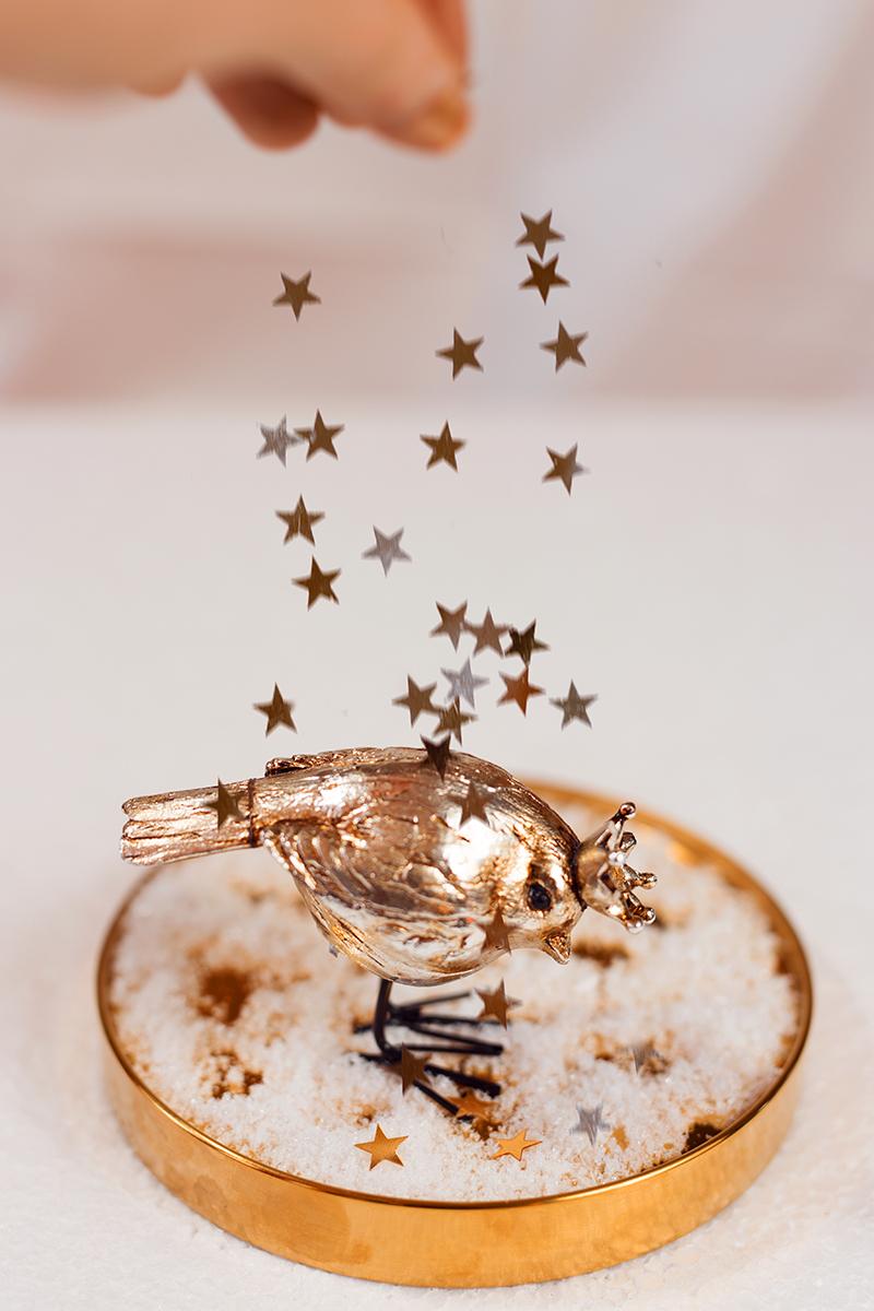 Glasglocke mit Vogel und Sternen
