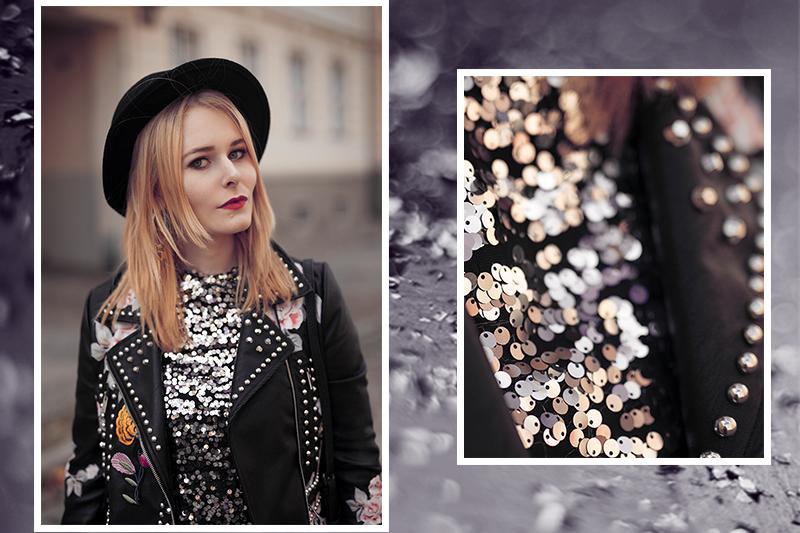 Outfit Inspiration Pailletten Oberteil mit Jeans
