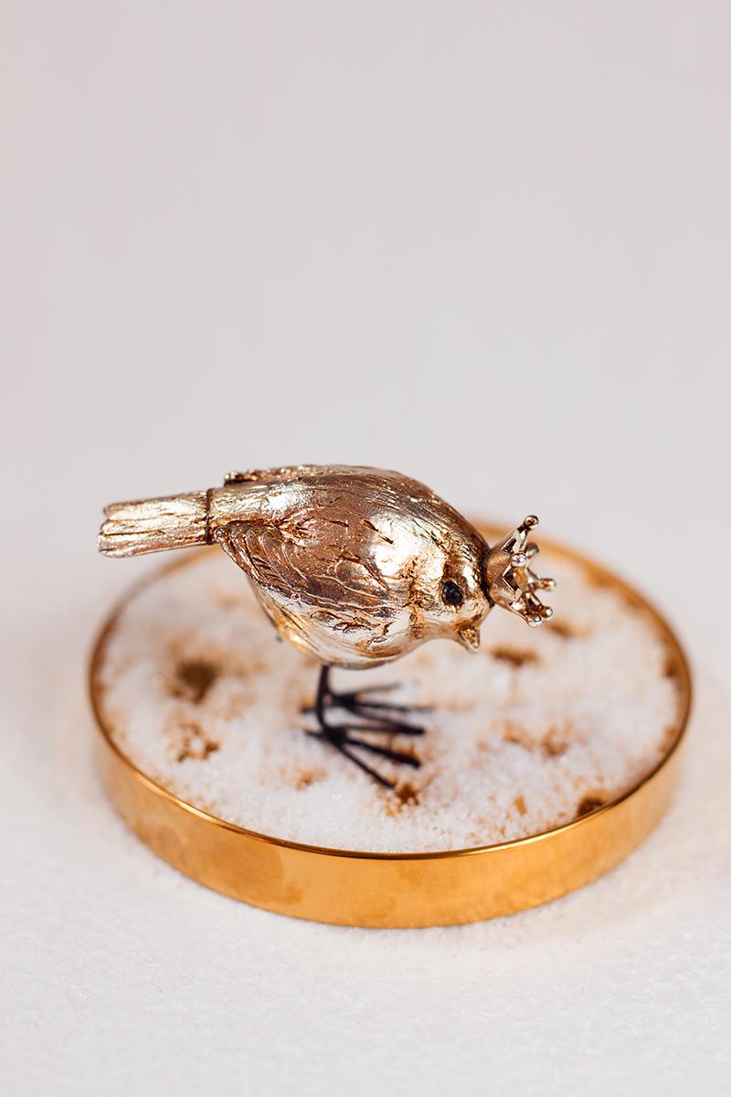 Vogel für edle Glasglocke - Dekoration für Weihnachten