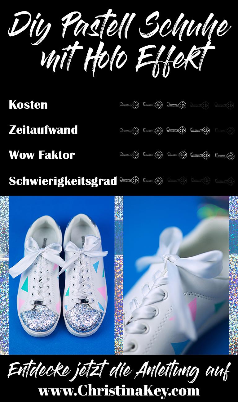 DIY Schuhe mit Holo  Effekt in Pastell