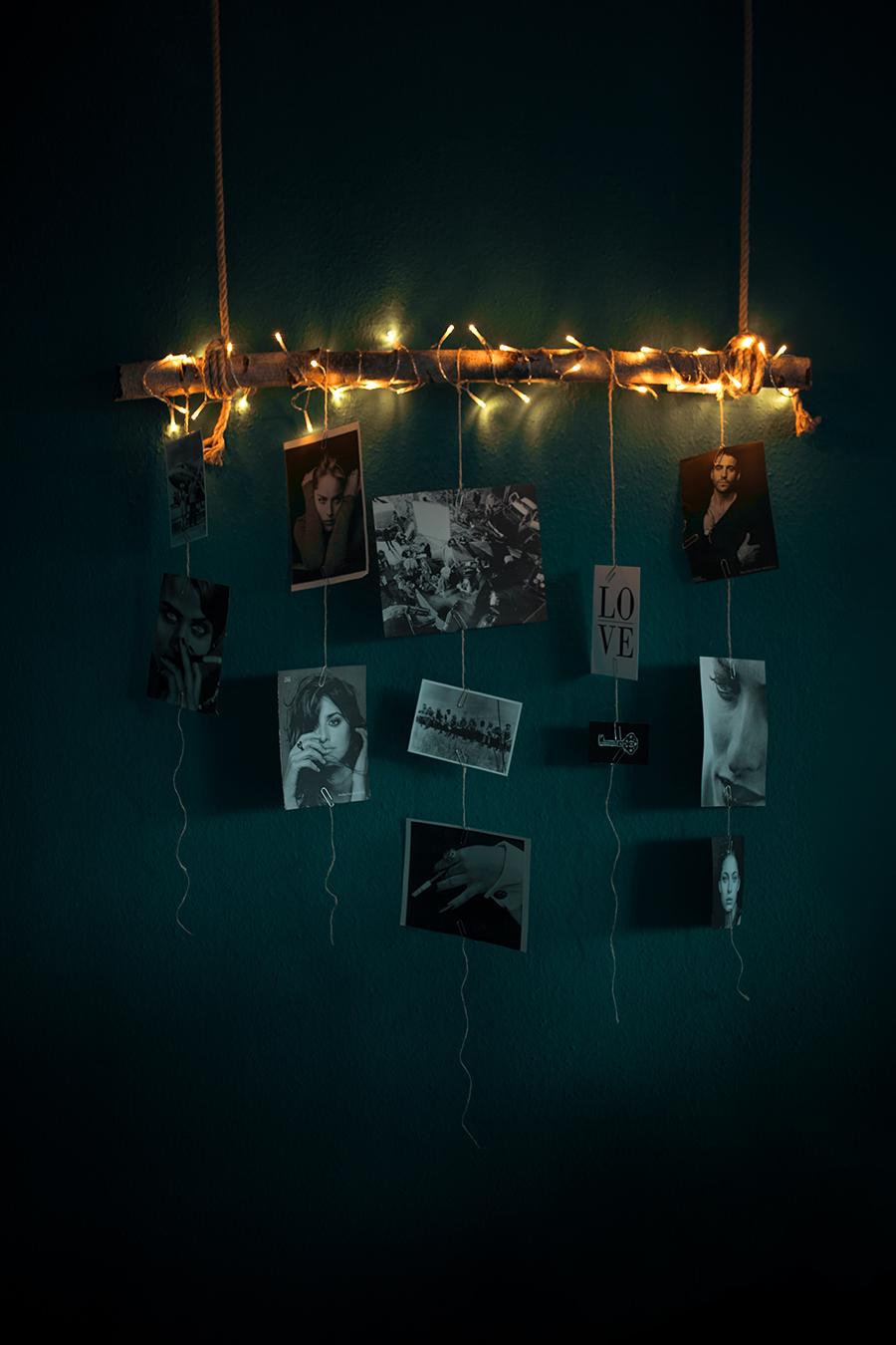 Diy Fotowand mit Birkenstamm mit Lichterkette