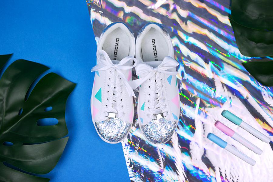 Diy Pastell Schuhe mit Holo Effekt selbst gemacht Ergebnis