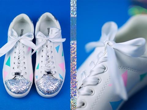 Diy Pastell Schuhe mit Holo Effekt selbst gemacht Idee