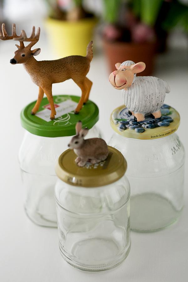 Marmeladengläser Upcycling DIY Osterdeko Idee