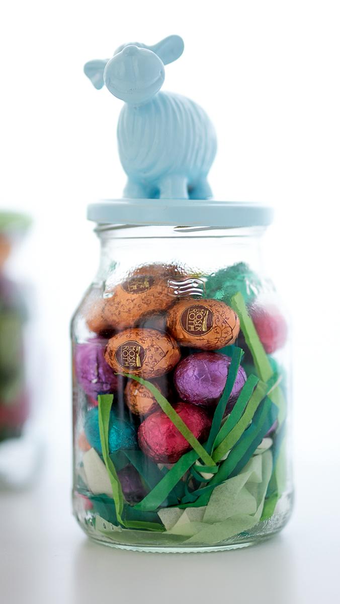 Marmeladengläser Upcycling DIY Osterdeko mit Schäfchen