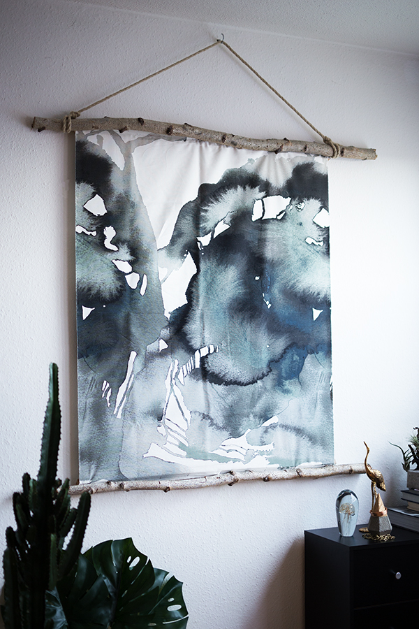 DIY Aquarell Bild Ikea Hack Low Budget in blau