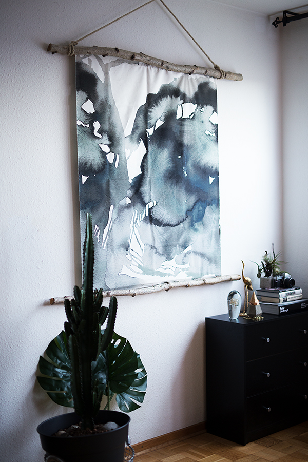 DIY Aquarell Bild Ikea Hack Low Budget mit Monstera