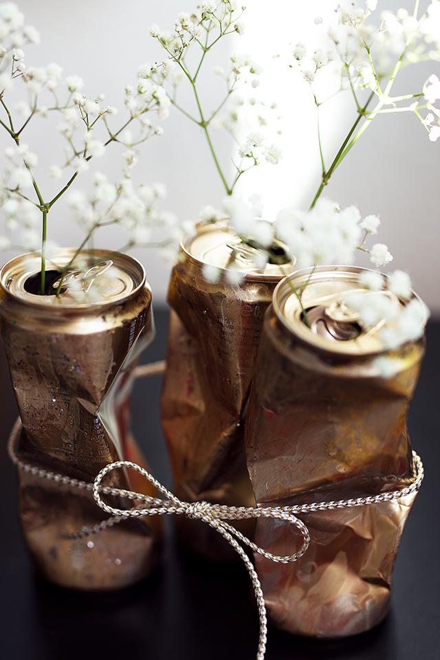Dosen DIY Gold mit Blumen