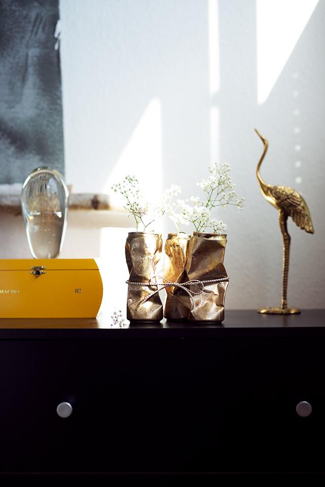 Dosen DIY Gold mit Schleife und Blume