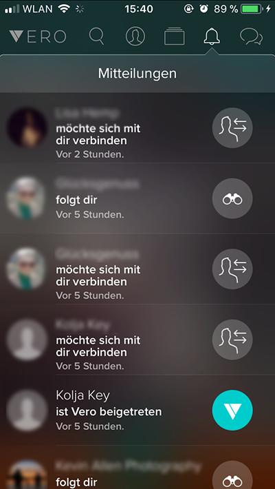 Vero App Mitteilungen
