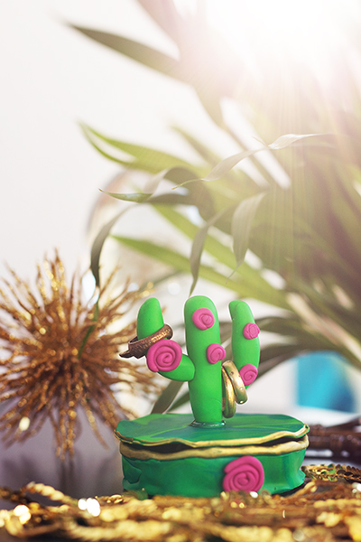 DIY Fimo Schmuckschachtel mit Kaktus B