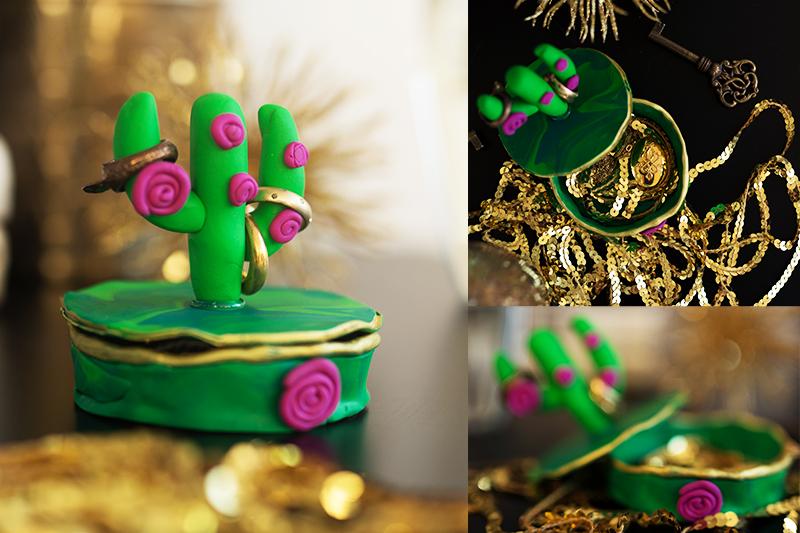 DIY Fimo Schmuckschachtel mit Kaktus Idee Deko
