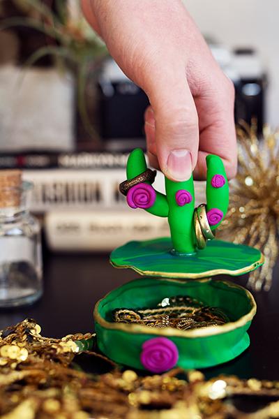 DIY Fimo Schmuckschachtel mit Kaktus und Deckel