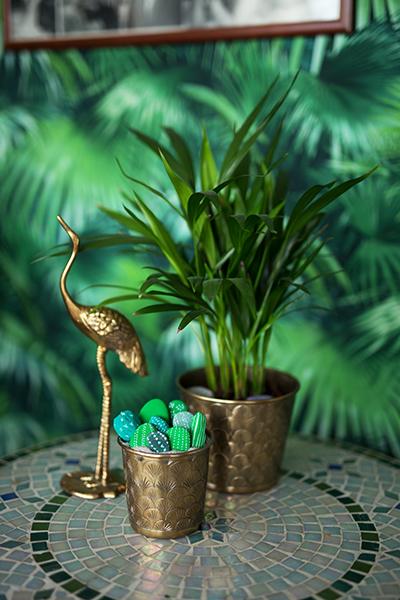 DIY Kissenbezug mit Gold Motiv Kaktus Steine