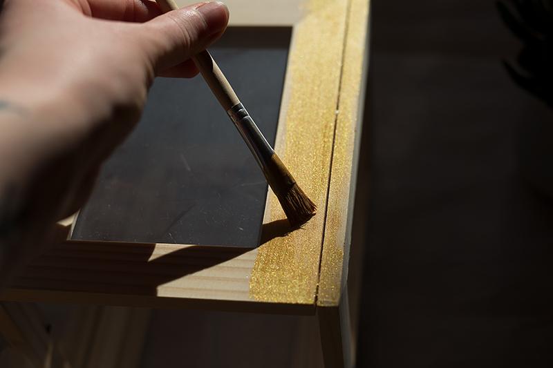 DIY Terrarium Bilderrahmen Ikea Hack Gold Lack