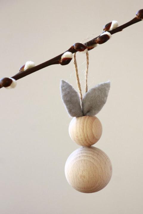 Oster DIY Ideen Ostereier aus Holz Kugeln