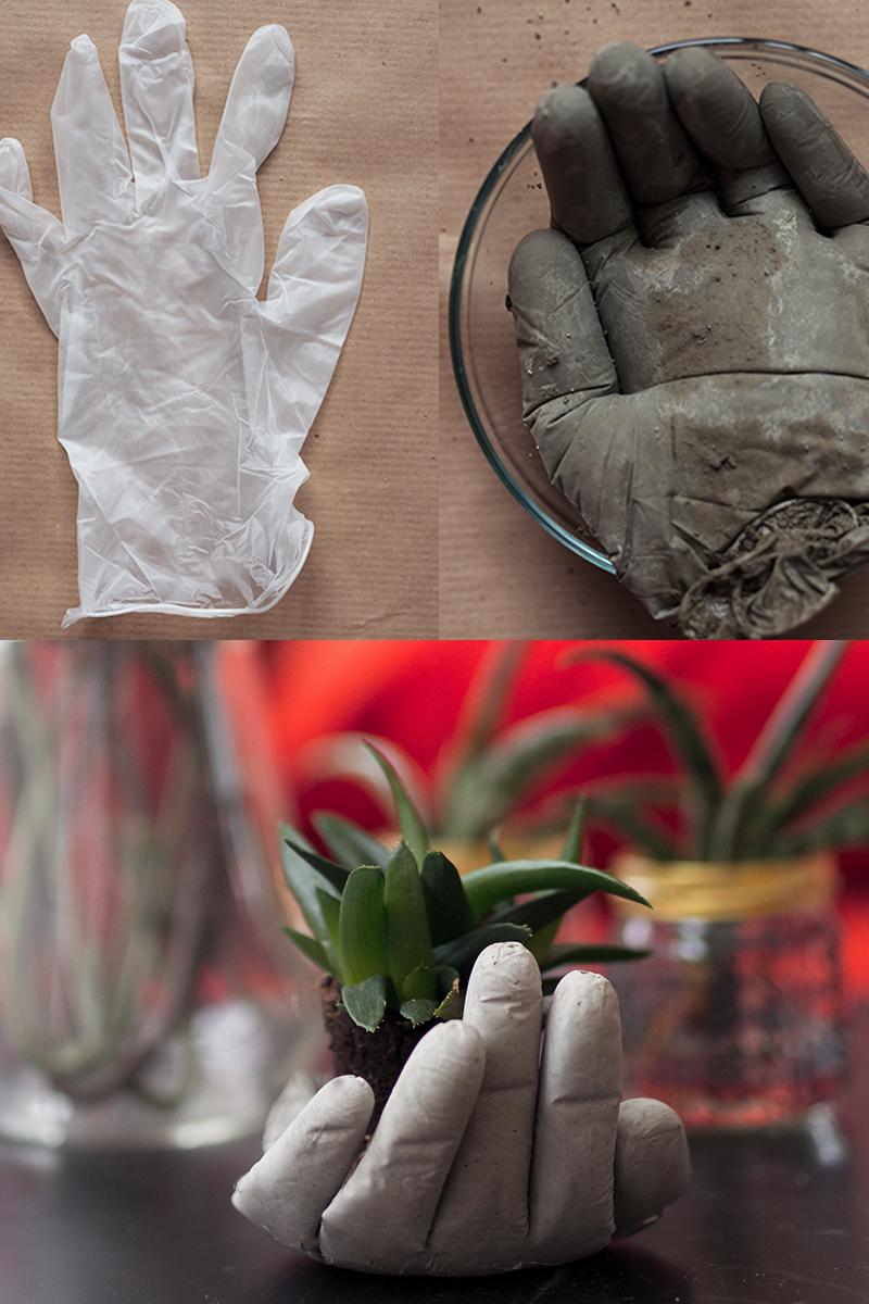 DIY Betonhand Pflanzenhalter selber mac