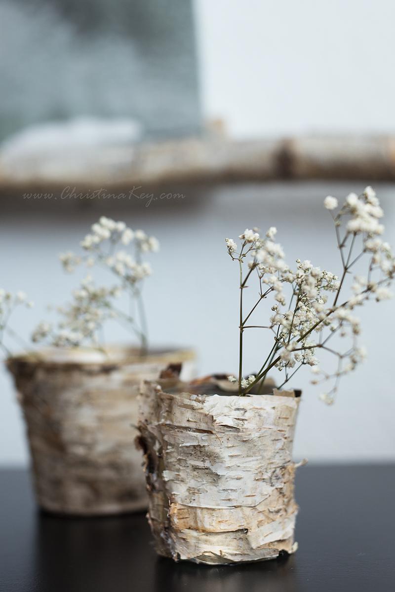 DIY Birken Topf Vase weiße Blumen