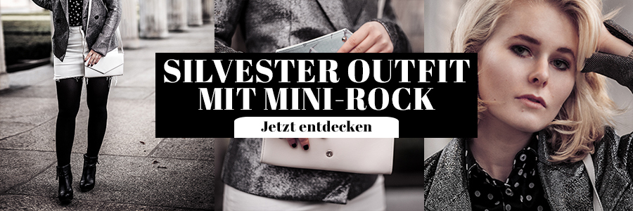 Damen Outfit mit Mini Rock Silvester Look