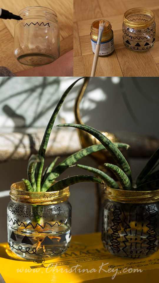 Glas Upcycling Wasserpflanze DIY Idee