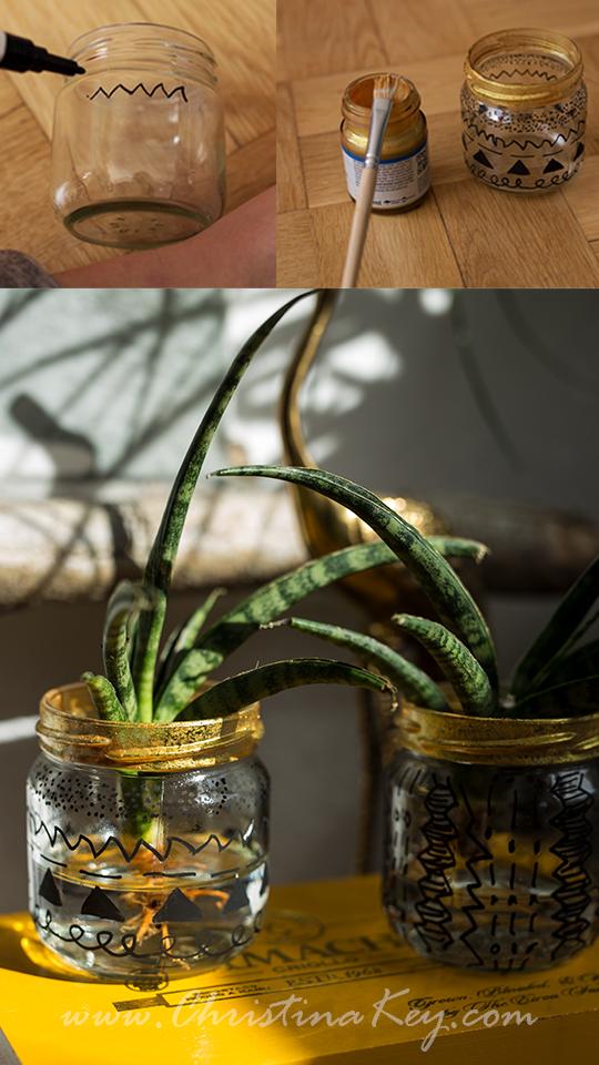 Glas Upcycling Wasserpflanze DIY Idee
