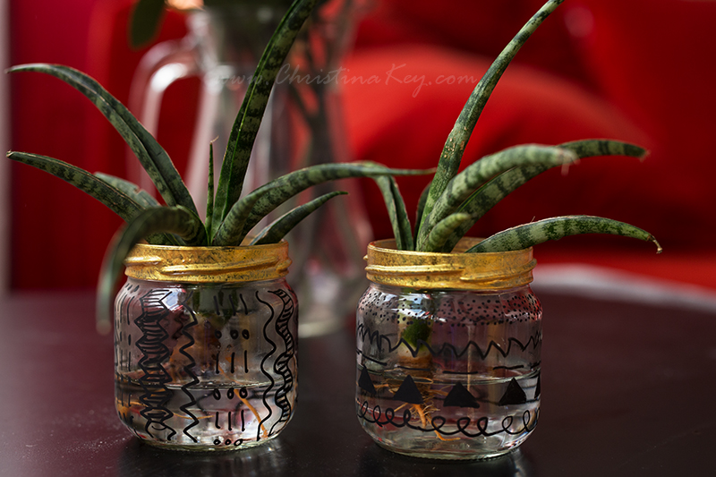 Glas Upcycling Wasserpflanze DIY