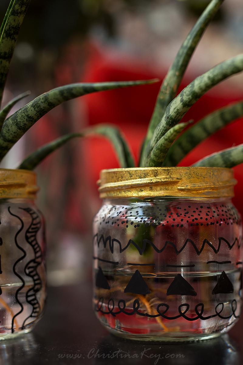 Glas Upcycling Wasserpflanze mit Goldrand