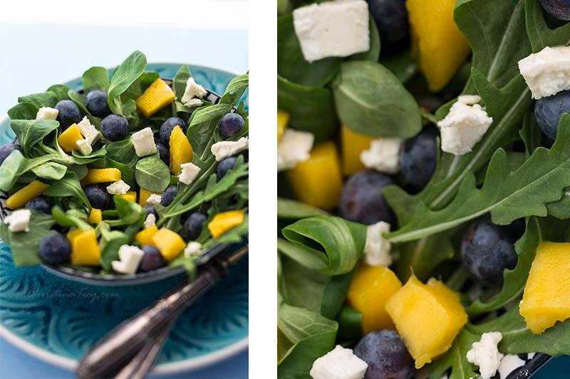 Sommer Salat mit Mango und Blaubeeren Rezept