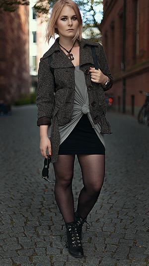 Minirock Outfits Herbst Jacke