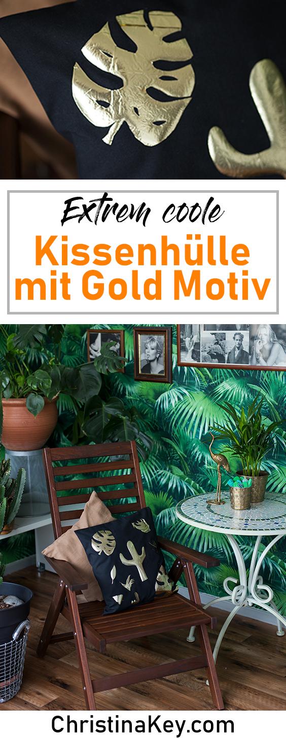 DIY Ideen Zuhause DIY Kissenbezug Monstera Motiv