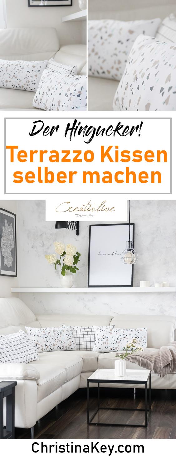 DIY Ideen Zuhause Terrazzo Kissen