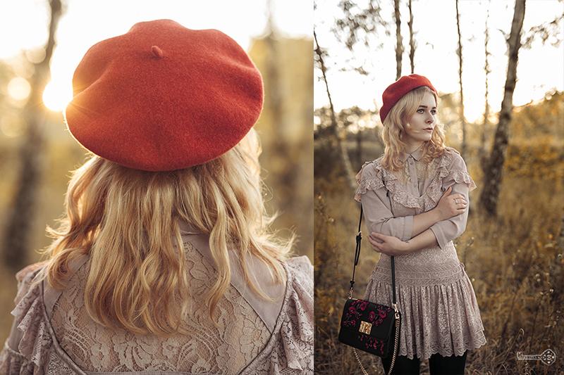 Herbst Outfit mit Spitzen Kleid