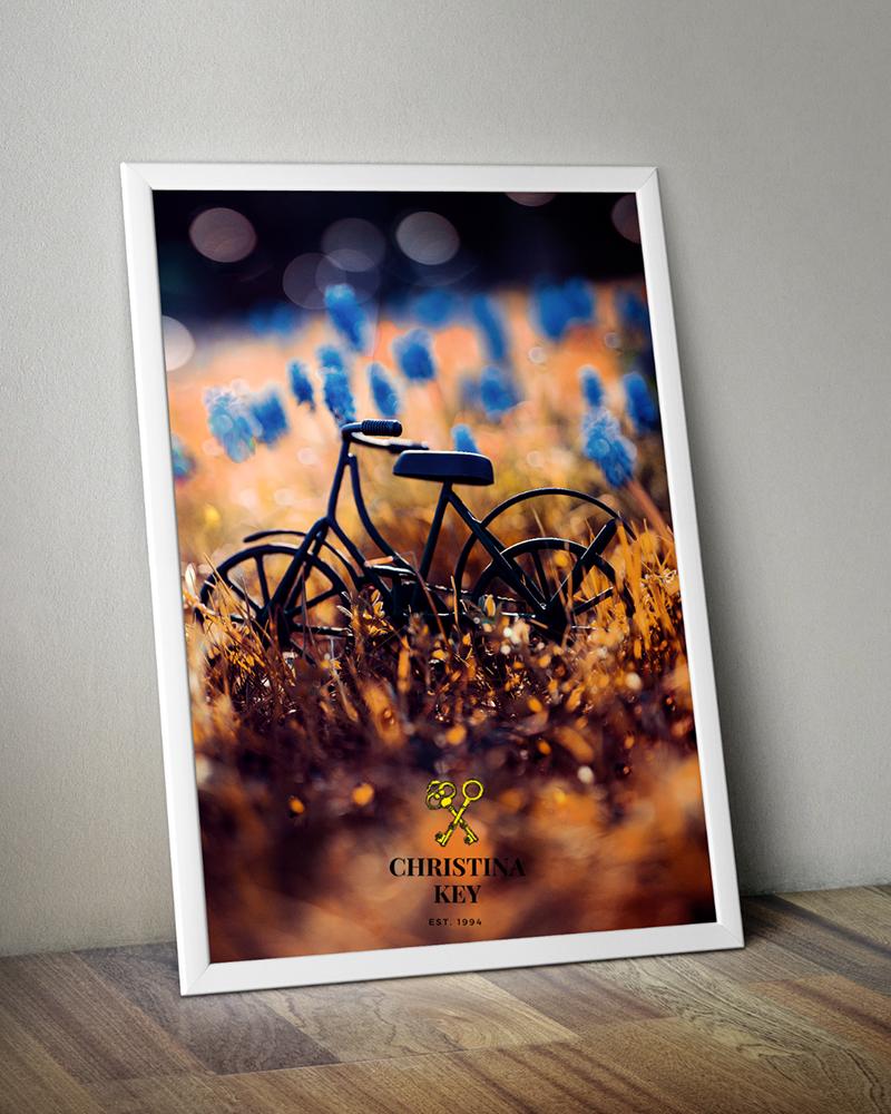 Fahrrad im Gegenlicht schönes Wandbild mit viel Bokeh