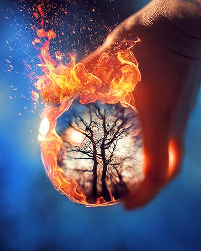 Glaskugel-Fotografie Lensball mit Feuer