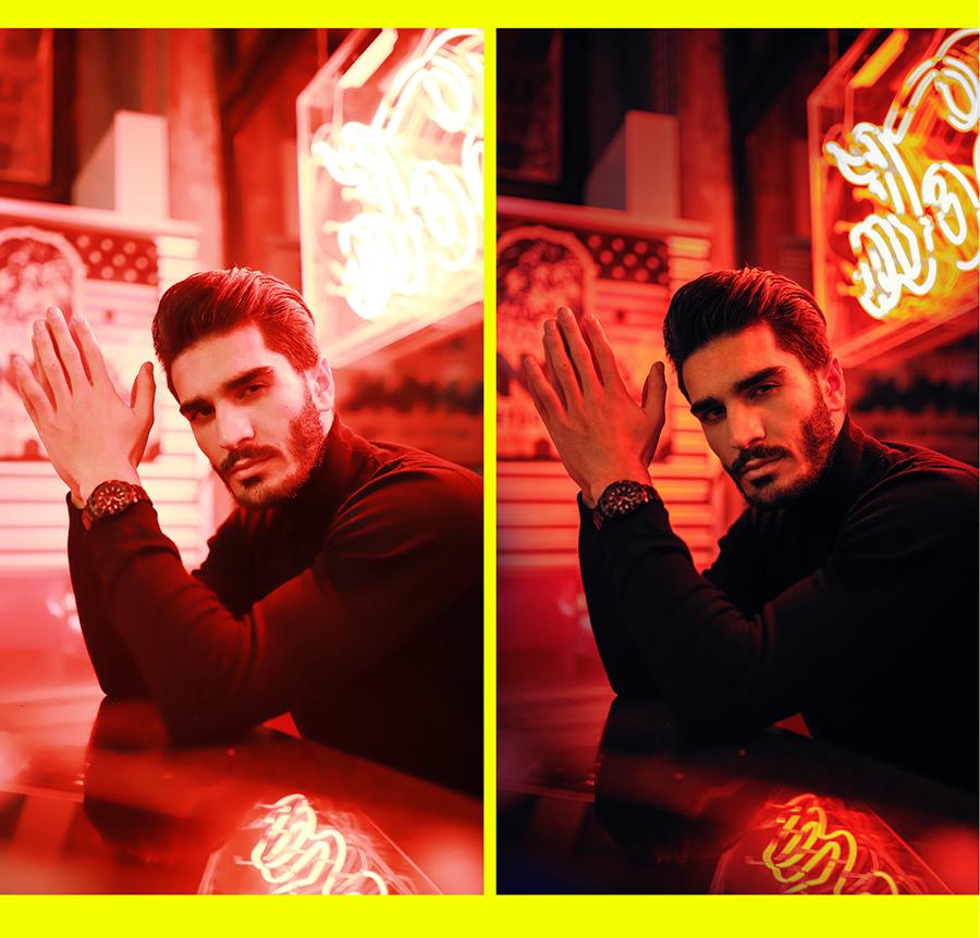 Fotografie Tipps Bildbearbeitung Männer-Portrait Neonlichter
